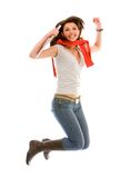 Female student jumping Stock Images