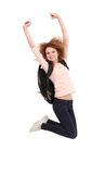Female student jumping of success. Isolated over a white background Stock Images