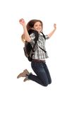 Female student jumping of success. Isolated over a white background Stock Photos