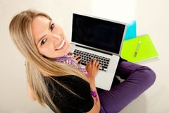 Female student with laptop Royalty Free Stock Photo