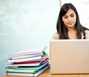 Female student with laptop Stock Photo