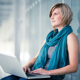 Female student with a laptop Stock Photos