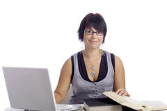 Female student with laptop and books Stock Images