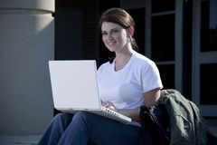 Female Student with Laptop Computer Royalty Free Stock Photography