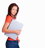 Female student with laptop and copy space Stock Photo