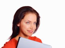 Female student with laptop looking at copy space Stock Photography