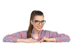 Female Student Leans At Banner Stock Photography