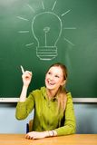 Female student and light bulb on chalkboard Stock Images