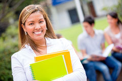 Female student looking happy Royalty Free Stock Images