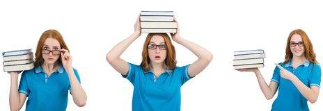 The female student with many books isolated on white royalty free stock photo
