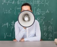 Female student with megaphone Royalty Free Stock Image