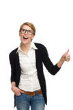 Female student in nerd glasses showing thumb up. Stock Photography