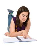Female student with a notebook Stock Photos
