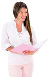 Female student with a notebook Stock Image