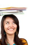 Female student with notebooks Stock Images