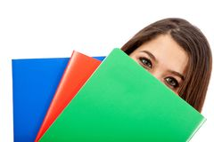 Female student with notebooks Royalty Free Stock Photo