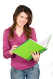 Female student with notebooks Royalty Free Stock Photos