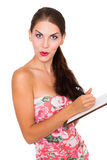 Female student with notepad Stock Photos