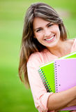 Female student outdoors Royalty Free Stock Images