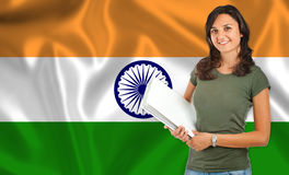 Female student over Indian flag Stock Photo