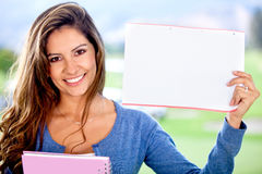 Female student with paper Royalty Free Stock Photography
