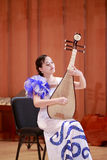 Female student playing chinese lute stock photos