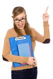 Female student pointing Stock Image