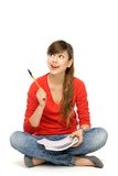 Female student pointing Stock Photography