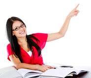 Female student pointing Stock Photo
