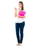 Female student pointing Royalty Free Stock Photo