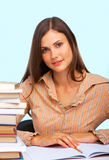 Female student portrait. Against light blue background Royalty Free Stock Image