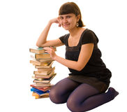 Female Student Portrait with books Royalty Free Stock Photography