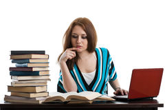 Female student prepare for examination Stock Photography
