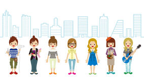 Female Student and Professional Occupation- Cityscape Background Stock Photo