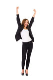Female student with raised hands shouting. Stock Image