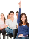 Female student raising her hand Stock Images