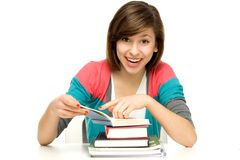 Female student reading book Royalty Free Stock Photos