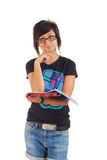 Female student with red folder ponders Royalty Free Stock Photography