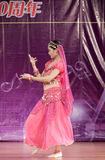 Female student in red perform indian dance Royalty Free Stock Images