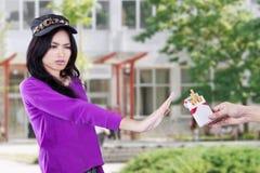 Female student refuse to smoke Stock Photography