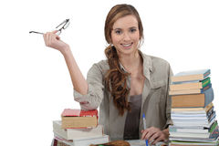 Female student revising Royalty Free Stock Photos
