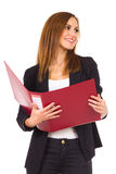Female Student with ring binder. Royalty Free Stock Images