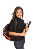 Female student with rucksack. Young Asian female student with rucksack, folder and books, isolated on white Royalty Free Stock Photography