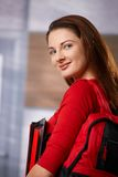 Female student on school corridor Stock Image