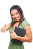 Female student showing her satisfaction Stock Images