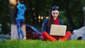 Female student sitting on the grass in the park, uses a laptop. HD video stock video footage