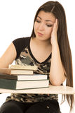 Female student sitting at her desk pondering book pile Stock Photos