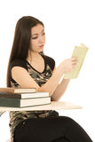 Female student sitting at her desk reading book Stock Images