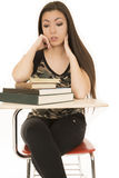 Female student sitting looking at a book pile Stock Image