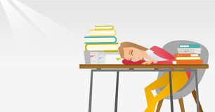 Female student sleeping at the desk with book. Fatigued student sleeping at the desk with books. Student sleeping after learning. Student sleeping among the Royalty Free Stock Photo